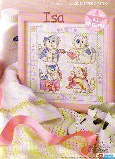 Cross-stitch Kitties Baby Birth Announcement, part 1