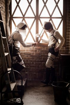 Eren and Levi cleaning cosplay