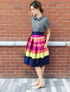 Striped Pleated Skirt- perfect for a fall day