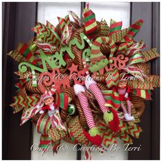 Merry Christmas Wreath - Merry Christmas Elf Hat Wreath -  Elf Legs Wreath -  Elf Wreath - Deco Mesh Wreath - Door Decor - Ready To Go by CreatedByTerri on Etsy