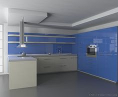 Modern Blue Kitchen Cabinets (Kitchen Design Ideas.org)