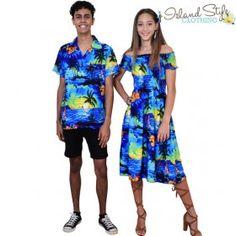 Couples Set Blue Sunset Ladies Cap Dress & Mens Hawaiian Shirt. Beach wedding, honeymoon, cruise, luau, halloween or fancy dress costume.