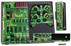 Designer Skin for XBOX ONE 1 Gaming Console +2 Controller Sticker Decals CIRCUIT