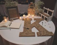 Rustic wedding guest book alternative shabby chic wedding decor 24 inch wood letter initials