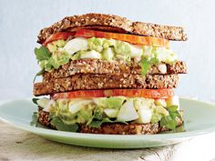 Avocado-Egg Salad Sandwiches with Pickled Celery | Scrambled, fried, poached, and more—eggs are the most versatile starting point for fast weeknight meals.