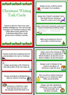 Christmas Writing Task Cards. Like the idea of writing your own Christmas carol. Perhaps write your own winter song?