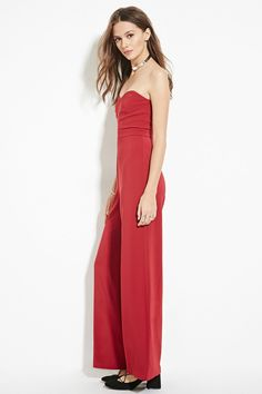 Forever 21 Contemporary - A strapless woven jumpsuit featuring a sweetheart neckline with boning, an exposed back zipper, and a wide-leg silhouette.