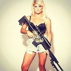 shiny-kit-syndrome:  Blonde with sniper rifle