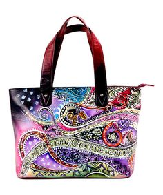 Look what I found on #zulily! Burgundy & Purple Hand-Painted Paisley Leather Tote by Biacci #zulilyfinds