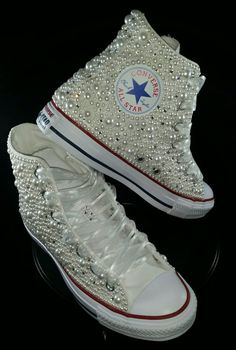 Bridal Converse- Wedding Converse- Bling & Pearls Custom Converse Sneakers- Personalized Chuck Taylors- All Star Converse Sneakers- Bride by DivineUnlimited on Etsy Bridal Converse, Bling Converse, Custom Converse, Bling Shoes, Prom Shoes, Converse Sneakers, Custom Shoes, High Top Sneakers, Bling Wedding