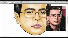 Easy Digital Speed Caricature Drawing Tutorial By Beemearts (Yorme) Caricature Drawing, Celebrity Drawings, Step By Step Drawing, Learn To Draw, Halloween Face Makeup, Sketches, Photoshop, Portraits, Learning