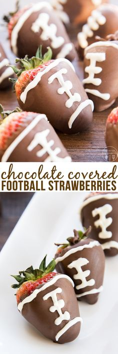 These chocolate covered strawberry footballs are not only easy to make, they're also delicious to eat and so cute for a football watching party!