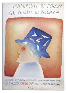Vintage poster - Expo in Italy of Belgian artist Jean-Michel Folon #BelgiumAbroad