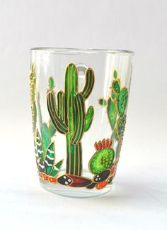 Cactus mug succulent gift Succulent cup Floral mug Unique Painting On Glass Windows, Painting Glass Jars, Bottle Painting, Glass Paint, Hand Painted Mugs, Hand Painted Wine Glasses, Elephant Mugs, Green Mugs, Succulent Gifts