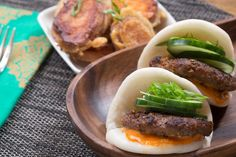 Korean Bao Sliders with Gochujang Mayo & Sweet Potato Tempura