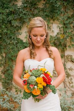 autumn bouquet with artichoke, marigolds, and succuletnts | Early October Wedding | Lady Bird Johnson Wildflower Center | Austin, TX | Lissa Anglin Photography
