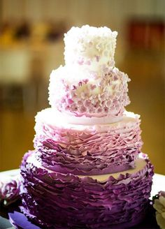 Featured Photographer: Roey Yohai Photography; Elegant purple ombre textured wedding cake