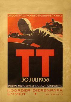 1938 Dutch TT | Tourist Trophy Motorcycle Race | TT Circuit of Assen, Netherlands | International Grand Prix Motorcycle Racing | Classic Retro Vintage Race Title, Poster, Program