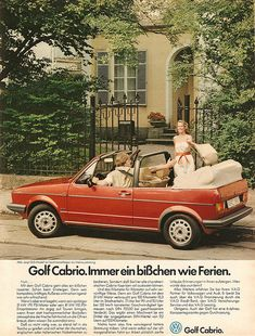 Always a little bit like the holidays. Golf 1 Cabriolet, Vw Golf Cabrio, Volkswagen Golf Mk1, Vw Mk1, My Dream Car, Dream Cars, Vw Group, Vw Classic, Vw Vintage