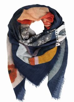 The Wisteria Scarf from Becksöndergaard is decorated with a striking collage print designed by Mette Flintholm. This colorful scarf with its raw edge Woolen Scarves, Wool Scarf, Pink Highlights, Designer Scarves, Square Scarf, Wisteria, Keep Warm, Retro