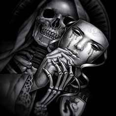 mask with skeleton underneath