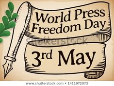 Scroll with fountain pen and greeting ribbon in hand drawn style and olive branch to commemorate World Press Freedom Day in May Freedom Day, World Press, Fountain Pen, Hand Drawn, How To Draw Hands, Royalty Free Stock Photos, Ribbon, Style, Tape