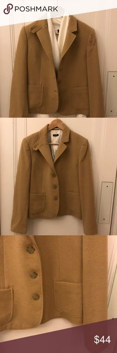 J.Crew Camel Blazer Lined Soft Wool Excellent condition J.Crew Factory camel color blazer. Fully lined. Was dry cleaned since last worn. Professional and classy! Size 6. Only selling because I no longer work outside my home. ~Price is Firm. No further discount unless bundled. Please no offers. I price fairly and in accordance to both Posh's shipping and seller fee. ~No modeling. I sell for me and 2 of my friends. Mostly everything I sell is now too small for my post-prego body, so I cannot…