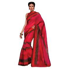 Triveni Smart Magenta Colored Printed Jute Silk Saree