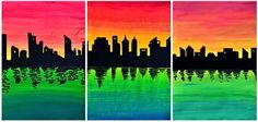 On a double chromatic gradation painted with acrylic paint, was pasted the skyline of a city cut out from a black cardboard. The color gradation was painted starting from a central yellow stripe, w. Special Needs Art, 7th Grade Art, School Art Projects, Learn Art, Middle School Art, Art Lessons Elementary, Art Classroom, Art Club, Teaching Art