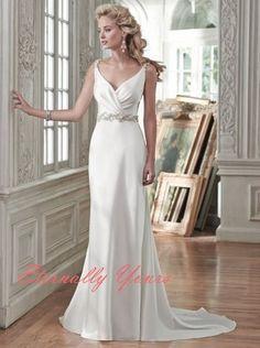 246.65$  Watch here - http://viulm.justgood.pw/vig/item.php?t=3hvgj03112 - Sheath/Column V-Neck Chapel Train Satin Wedding Dresses New 2016 246.65$