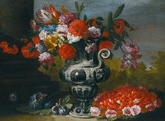 Abraham Brueghel - Naples Still Life with Tulips, Carantions, Daffodils and other Flowers in a Metallic Urn on a Stone Ledge with Figs, Plums ans a Bowl of Strawberries below. Rainbow In A Jar, Fruit Decorations, Fruit Photography, Old Master, Exotic Flowers, Painting For Kids, Preschool Crafts, Vintage Flowers, 17th Century