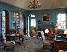 """""""The blue used on the paneling was a color popular in 18th century Georgian homes..."""" love that color!!"""