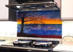 The design of this splashback in Witney, Oxfordshire is a fully original one directly inspired by the customer's ideas. She loved the idea of a bright sunset with a contrasting tree, rooted on land in the foreground and silhouetted against the orange glow on the horizon. Witney Oxfordshire, Splashback, Fused Glass Art, Panel Art, All Design, Being Ugly, Bespoke, Glow, Bright