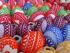 String craft using real eggs. Easter Market, Slovakia