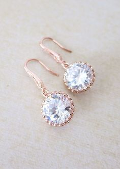 Rose Gold Cubic Zirconia Round drop Earrings
