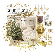 """Gold is Good!"" by catzmeow ❤ liked on Polyvore featuring interior, interiors, interior design, home, home decor, interior decorating, Jayson Home, Flamant, M&S and NEST Jewelry"