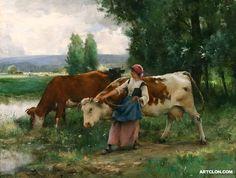 Julien Dupre - Femme et vaches par leau
