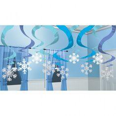 Deckenhänger Rotorspirale Winter-Wunderland 15er-Pack, Schaufensterdekoration-Länge : ca. 60 cm von Amscan im party-deko-shop.de