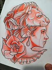 Justin Harris tattoo (Justin Harris Tattoo) Tags: red woman black love beautiful tattoo watercolor skull sketch zombie traditional lion xxx neotraditional liontattoo justinharris justinharristattoo