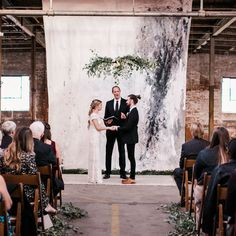 """2,173 Likes, 19 Comments - Junebug Weddings (@junebugweddings) on Instagram: """"This hand-painted canvas ceremony backdrop is everything 😍😍😍 Megan and Sean made minimalist vibes…"""""""