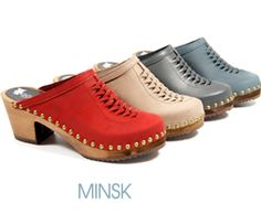 "The Minsk Swedish clogs are sure to ""wow"" with their fun and trendy style; not least displayed by the intricate weaving on the top of the clogs, which creates a very stylish and unique fashion statement. As such, these wood clogs Are perfect to pair with nearly any outfit that you choose.     Minsk comes on a medium-heel Alderwood base with traditional leather. The leather is fastened with brass nailheads that gives the clog a timeless look."