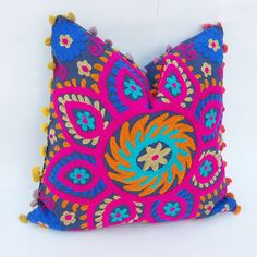 Beautiful Multicolored Handmade Wool Embroidered Indian Pillow Cases Suzani Cushion Cover Decorative Pillow Case Traditional Turkish Designs : Beautiful Multicolored Handmade Wool Embroidered by PunjabiCrochet Handmade Cushion Covers, Handmade Cushions, Rustic Decorative Pillows, Decorative Pillow Cases, Home Design, Couch Grey, Traditional Cushion Covers, Indian Pillows, Living Room Decor Pillows