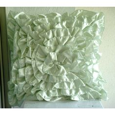 "Mint Green Ruffles - 20""X20"" Satin Mint Green Throw Pillows Cover"