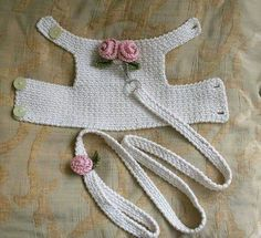 Dog harness with Matching Leash Pet clothing, Dog Harness Dog vest Crochet Dog Harness Dog Vest Small Dog Harness Harness with Lesh BubaDog This dog harness has two beautiful handmade roses on its back . The dog harness is made out of Cream cotton fabric. Crochet Dog Clothes, Crochet Dog Sweater, Pet Clothes, Dog Clothing, Animal Clothes, Crochet Poncho, Chat Crochet, Crochet Pet, Crochet Gifts