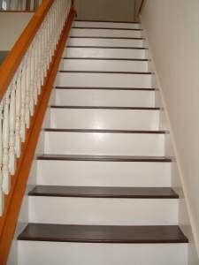Installing Laminate Flooring on Stairs, diy stairs - they need to stain their railling Laminate Flooring On Stairs, Installing Laminate Flooring, Wood Laminate, Vinyl Flooring, Hardwood Floors, Flooring Ideas, Flooring Options, Flooring 101, Penny Flooring