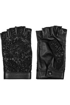 Valentino Embellished leather and lace fingerless gloves | NET-A-PORTER