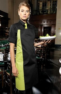 Create a contrast look with Premier's PR162 apron in six colours.