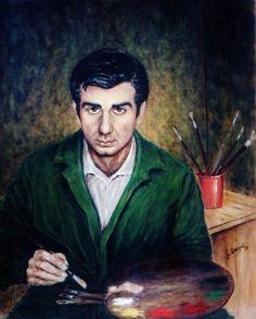 Self portrait of the Italian artist Guide Mazulli (1943-) Style:Post-Impressionism 1969