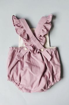 Handmade Lavender Rose Linen Baby Romper | blytheandreese on Etsy https://presentbaby.com