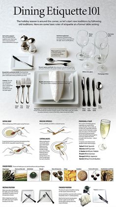 For formal dinner parties ladies! Click on the photo for the original size:) Salt or/and pepper: they should be passed together even when only one is requested. Don't season food before tasting it. Place card: Never switch or change seatingarrangementsalready planned by the host. Stemware ( glasses): Glassware is limited to four. Wine is poured …